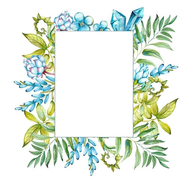 Flor em aquarela com moldura verde e azul