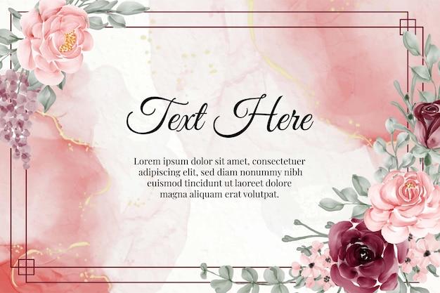 Flor em aquarela floral bordô e rosa pastel
