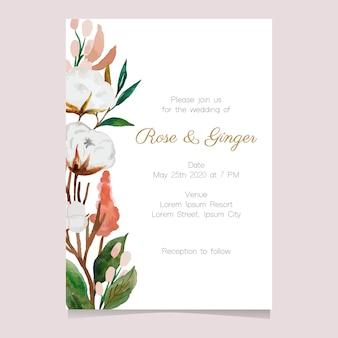 Flor em aquarela para convite de casamento Vetor Premium