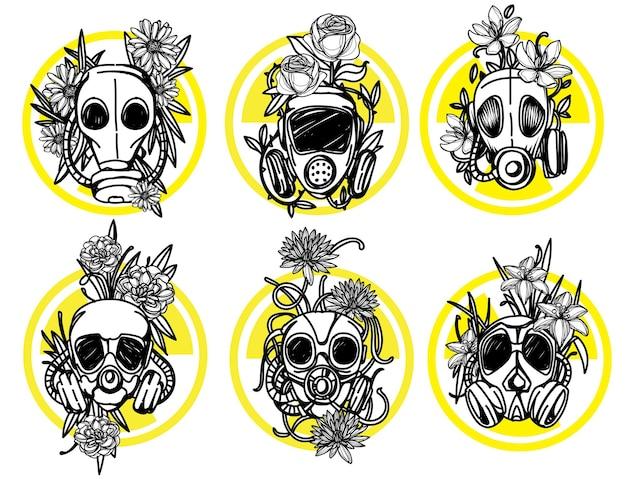 Flor em emblema de toxicidade de máscara de gás pode ser usado desenho de tatuagem