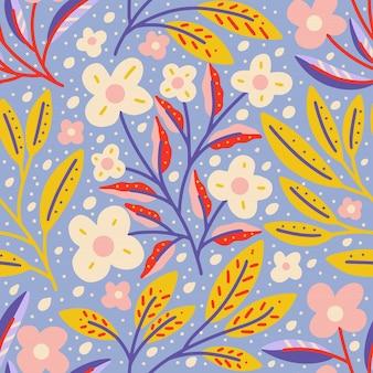 Flor em flor com folhagem colorida natureza sem costura padrão