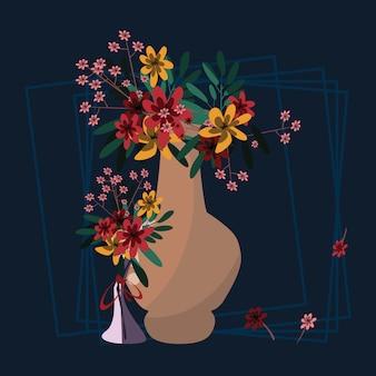 Flor em ilustração vetorial de vaso
