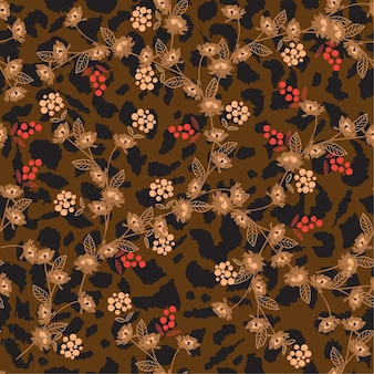 Flor em pele de animal leopardo imprime padrão sem emenda