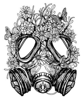 Flor em tatuagem de emblema de toxicidade de máscara de gás