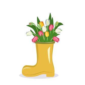 Flor em um vaso um buquê de tulipas em uma bota