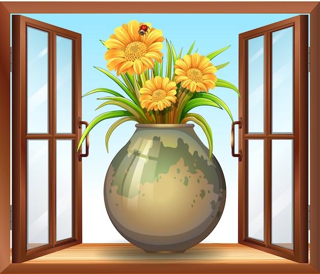 Flor em vaso perto da janela