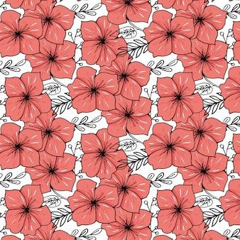 Flor esboçada imprimir em fundo de cor brilhante
