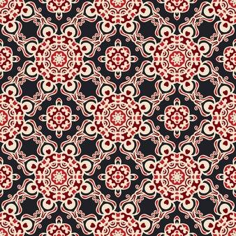 Flor étnica damasco sem costura padrão vetorial de fundo ornamental