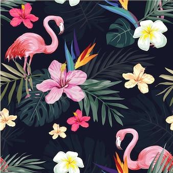 Flor exótica tropical sem costura e padrão em chamas