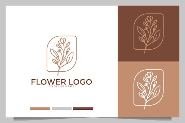 Flor feminina linha arte design de logotipo de beleza
