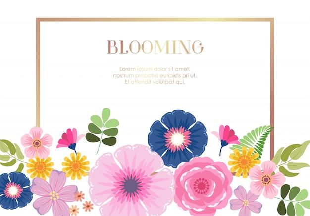 Flor floral colorida florescendo