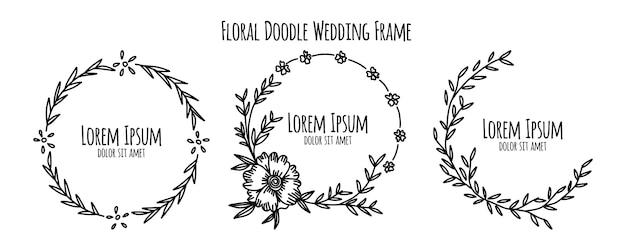 Flor floral doodle esboço coleção de modelo de ornamento de quadro de casamento