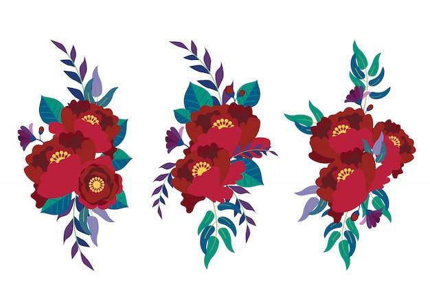 Flor floral vermelha escura florescendo