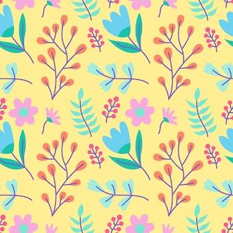 Flor fresca e folhas sem costura de fundo vector