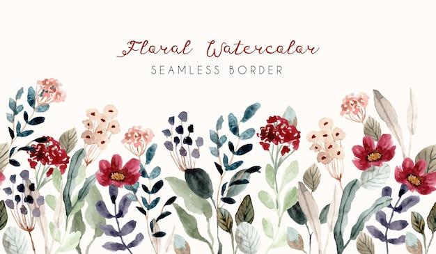 Flor jardim aquarela fronteira sem costura