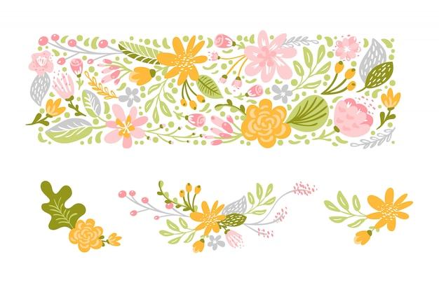Flor, jogo, em, pastel, cores