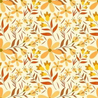 Flor laranja e amarelo padrão sem emenda ilustração premium