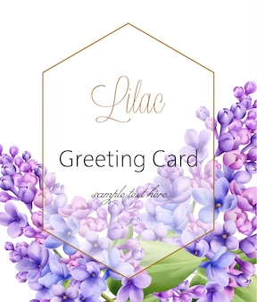 Flor lilás sobre fundo branco, com cartão de saudação hexágono dourado com lugar para texto