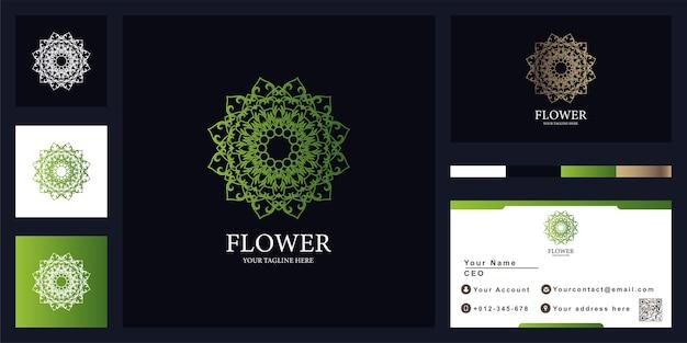 Flor, mandala ou ornamento design de modelo de logotipo de luxo com cartão de visita.