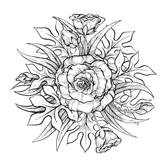 Flor mão ilustrações desenhadas.