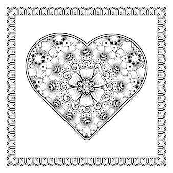 Flor mehndi com moldura em forma de coração em ornamento de doodle oriental étnico