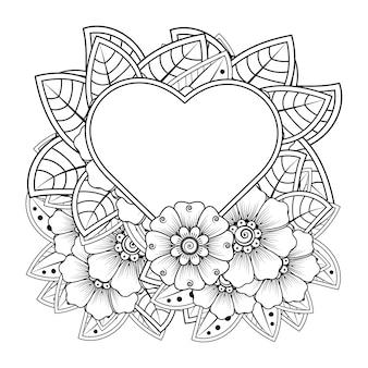 Flor mehndi com moldura em forma de coração no estilo oriental étnico.