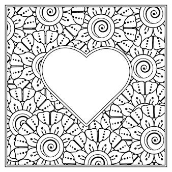 Flor mehndi com moldura em forma de coração