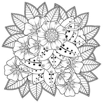 Flor mehndi em estilo oriental étnico doodle ornamento contorno mão desenhar ilustração página de livro para colorir