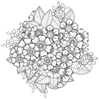 Flor mehndi em estilo oriental étnico. ornamento do doodle. esboço mão desenhar ilustração. página do livro para colorir.