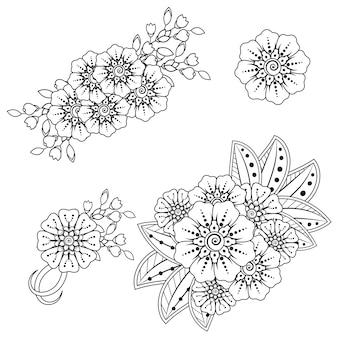 Flor mehndi para desenho de henna. decoração em estilo étnico oriental, indiano.