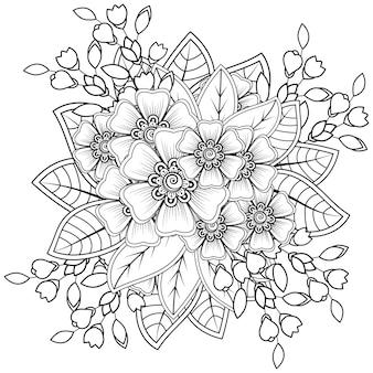 Flor mehndi para enfeite de doodle de henna