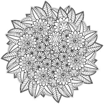 Flor mehndi para henna isolada no branco