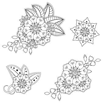 Flor mehndi para henna. ornamento do doodle. esboço mão desenhar ilustração.