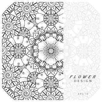 Flor mehndi para página do livro de colorir decoração de tatuagem de henna mehndi