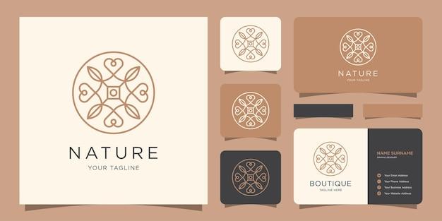 Flor minimalista elegante e amor de luxo de beleza, moda, cuidados com a pele, cosméticos com cartão de visita