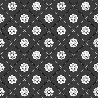 Flor monocromática em preto e branco sem costura e padrão de grade