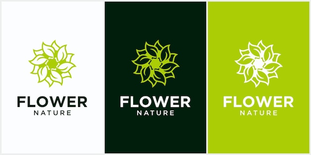 Flor natural saúde folha logotipo criativo círculo conceito logotipo design saúde folha logotipo modelo