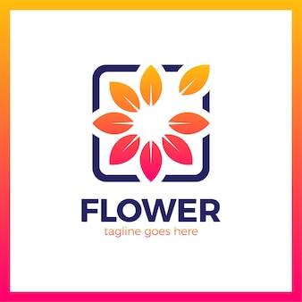 Flor no logotipo de moldura quadrada. esboço mídia natureza