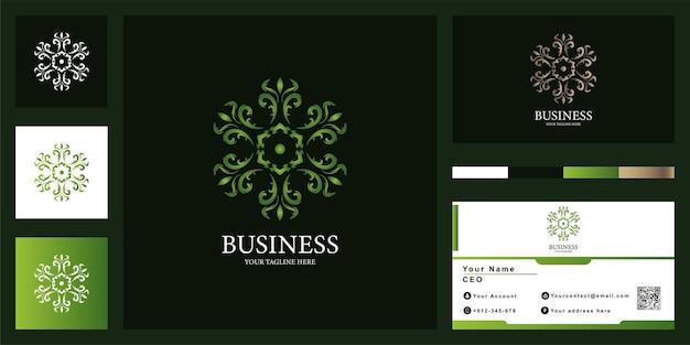 Flor ou ornamento design de modelo de logotipo de luxo com cartão de visita.