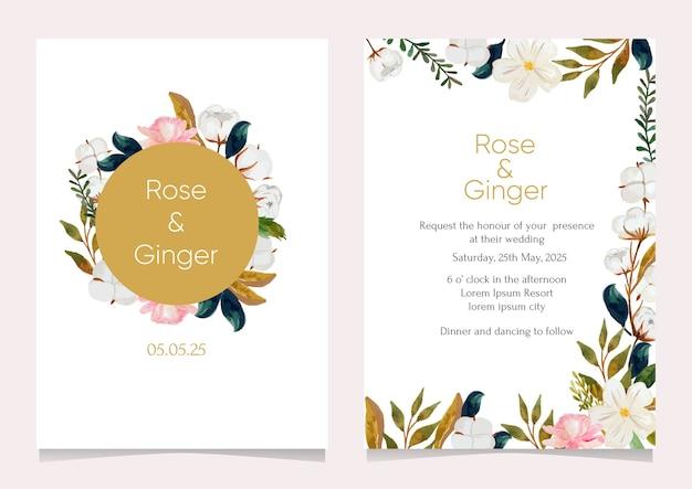 Flor para modelo de cartão de convite de casamento
