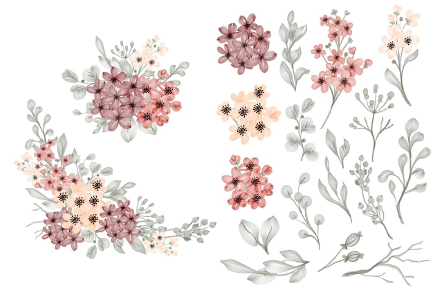 Flor pequena e folhas isoladas, clip-art e arranjo floral