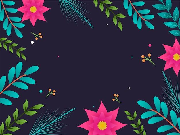 Flor poinsétia com fundo decorado de folhas e bagas