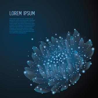 Flor poligonal em azul escuro