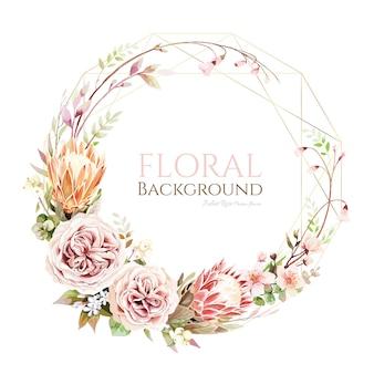 Flor protea e coroa de julieta rosa para cartão de convite de casamento.