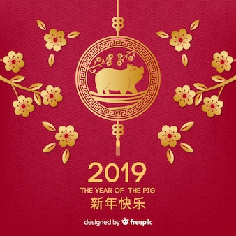 Flor, ramos, ano novo chinês, bakcground