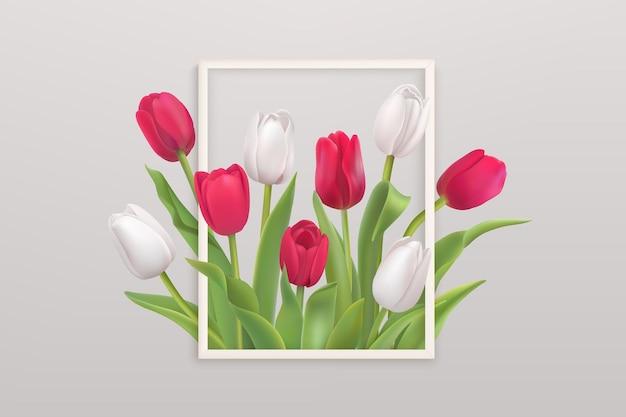 Flor realista com tulipas brancas e vermelhas em uma moldura branca