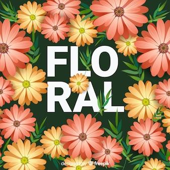 Flor realista e folhas de fundo