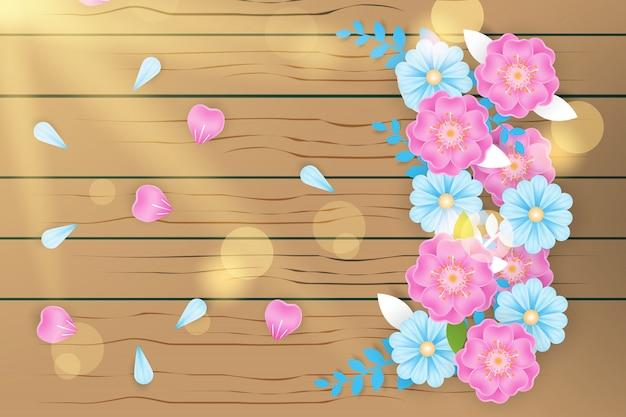 Flor realista na textura de madeira com luz de bokeh