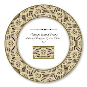 Flor redonda vintage com moldura retro hexágono oriental