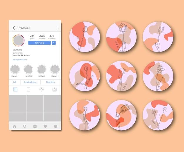 Flor retro abstrato desenhado à mão coleção de destaques do instagram